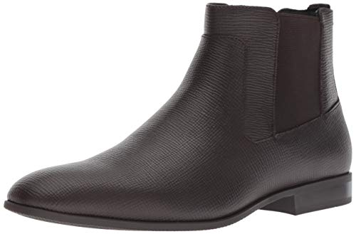 (Calvin Klein Men's CHRISTOFF Chelsea Boot, Dark Brown Epi Leather, 10 M M US)