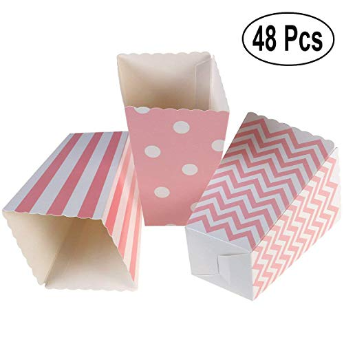 SALOCY Paper Popcorn Boxes,48 PCS Popcorn Favor Boxes,Chevron, Stripe Polka Dot - Birthday Supplies Party Chevron