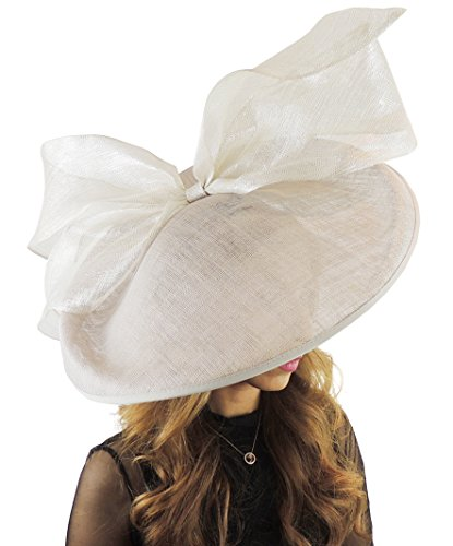 acddcd8f Hats By Cressida Gorgeous Barn Owl Pale Grey Large Saucer Bow Ascot Derby Wedding  Hat by
