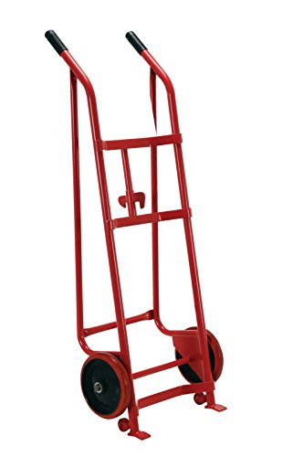 Vestil DBT-RED Steel Drum Truck with Dual Handle, Polyurethane Wheels, 800 lb. Load Capacity, 60-1/4