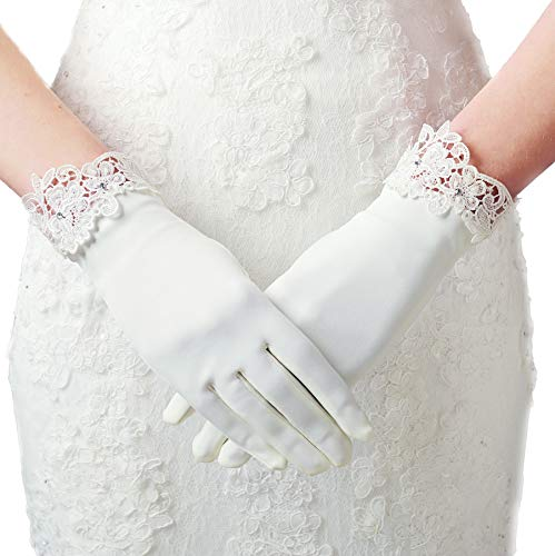 BABEYOND Floral Lace Gloves for Wedding Opera Party 1920s Flapper Lace Gloves Stretchy Adult Size (White with Floral Lace Edge)