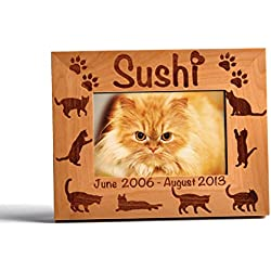 Personalized Pet Memorial Alder Wood Photo Frame Cat Paw Pet Urns Dog Cat 5x7 Horizontal