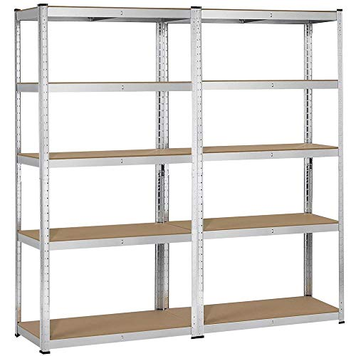Yaheetech 2 Packs Heavy Duty 5-Shelf Commercial Garage Shelving Unit Utility Storage Shelves Adjustable Boltless Steel Display Rack, 71in Height
