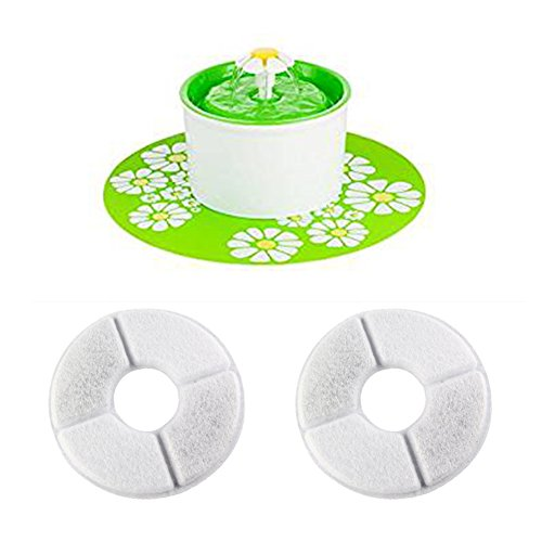 cjc 2pcs Activated Carbon Filter Water Softening Filter for 1.6 L Automatic Flower Water Fountain 12V Pet Waterer Safe Drinking Filter Bowl for Dogs Cats