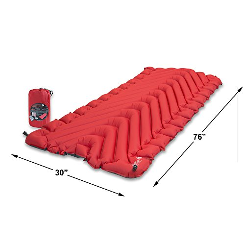 Klymit Insulated Static V Luxe Camping Air Mattress, Red/Char Black, X-Large by Klymit (Image #3)