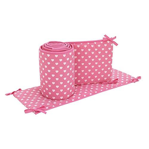 Little Love by NoJo Heart 4 Piece Nursery Crib Bumper, Pink, White