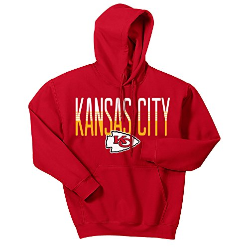 Zubaz NFL Kansas City Chiefs Men's Gradient Logo Hoodie, Large, Red ()