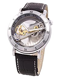 Mens Mechanical Watch Steampunk Skeleton Dial Black Leather Band Automatic MW-84