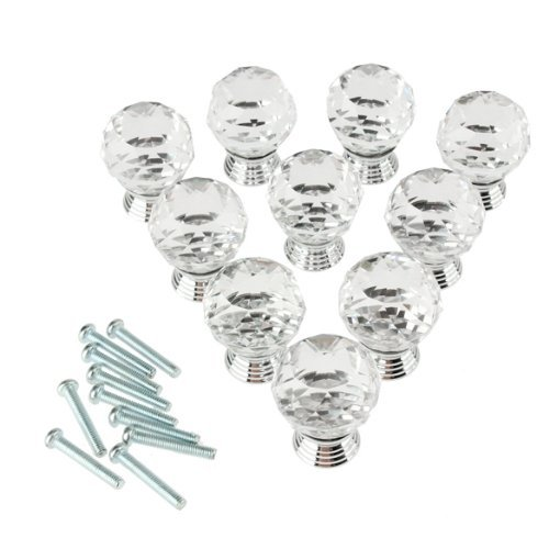 Outop Dxhycc 10pcs 30mm Transparent Diamond Shape Crystal Glass Cabinet Knob Cupboard Drawer Pull Handle/Great for Cupboard, Kitchen and Bathroom Cabinets, Shutters