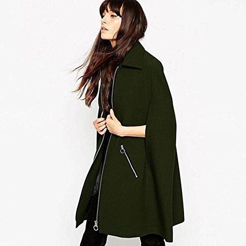 Moda verde cabo Batwing lana abrigo mujeres de army green