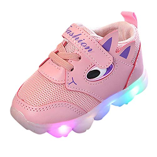 Baby Toddler Girls Boys LED Luminous Running Shoes Sneakers for 1-6 Years Old,Kids Soft Outdoor Sport Light Shoes (4-4.5 Years Old, Pink) ()