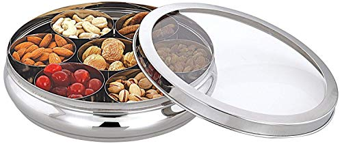 Stainless Steel Spice Box,Spice Container Box,Masala Dabba,Spice Container with transparent lid for kitchen,Valentine Day Gifts