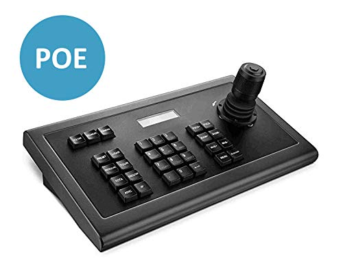 Network Keyboard LEFTEK,IP POE Keyboard 4D IP PTZ Controller with LCD Monitor Display Onvif Protocol Keyboard for IP PTZ Camera Compatible with Hikvision/Dahua/TVT/Uniview/XM/Jovision Brand etc. (Camera Controller)