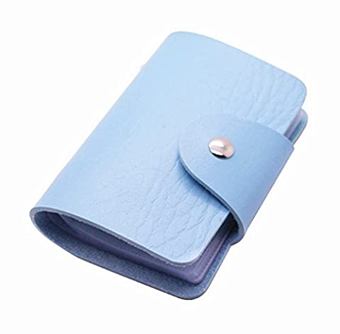 Aimeio PU Leather Card Case Business Card Holder Credit Card Bag ID Card Wallet Pouch Organizer for Women&Man,24 Slots Assorted Colors (Blue)