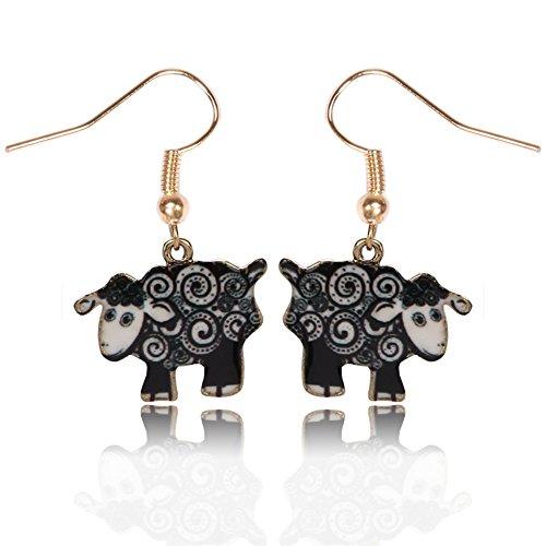 Animal Ball Drop Earring - Gold Color Animal Sheep Dangle Drop Earrings Girls Kids Xmas Gift (Black)