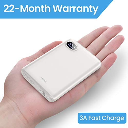 10000mAh Portable Charger,(Smallest) (LCD Display) (Powerful) Ainope External Battery Pack/Battery Charger/Phone Backup Power Bank Dual USB Output(3.1A),Perfect Carry Travel-White