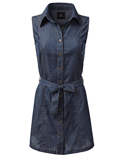 Buy belted denim dress - 6