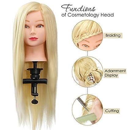Luckyfine 26   Capelli Sintetici del 100% Testa Studio Parrucchiere  Cosmetologia Manichini Parrucchiere Pratica 78288068f941
