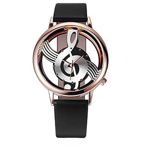 Analog Quartz Watches for Women On Sale Clearance Cuekondy Diamond Leather Band Round Dial Luxury Dress Wrist Watch (Black ()