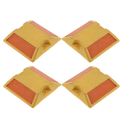 Baosity New Commercial Road Highway Pavement Marker Reflector - Two Side, Yellow, 4Pcs ()