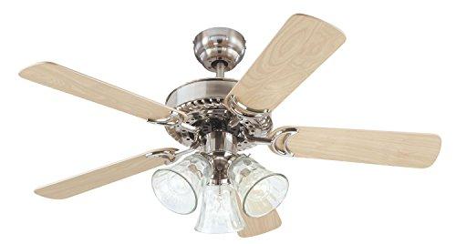 Westinghouse 7843565 Newtown 42 Inch Ceiling Fan, Brushed Nickel - Glasses Newtown
