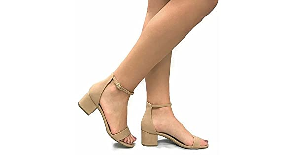 3e0227dcd8 City Classified Women's Block Open Toe Ankle Strap Heeled Sandals Natural 8