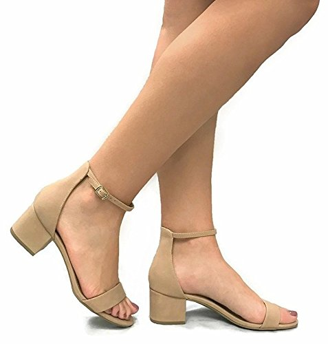 City Classified Women's Block Open Toe Ankle Strap Heeled Sandals Natural 7.5 (Heel Womens Block)