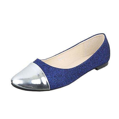 Ital-Design Klassische Ballerinas Damenschuhe Blockabsatz Blau Silber HS42