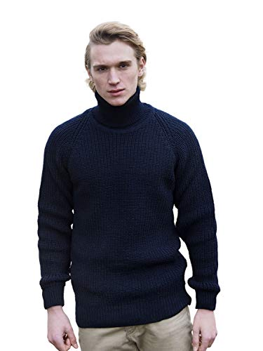 100% Irish Merino Wool Fishermans Navy Roll Collar Rib Sweater by West End Knitwear
