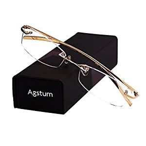 Agstum Pure Titanium Rimless Glasses Prescription Eyeglasses Rx (Gold, 53)