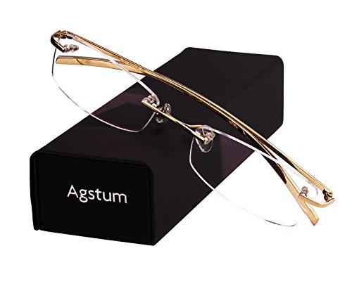 Agstum Pure Titanium Rimless Glasses Prescription Eyeglasses Rx (Gold, - Titanium Frameless Glasses