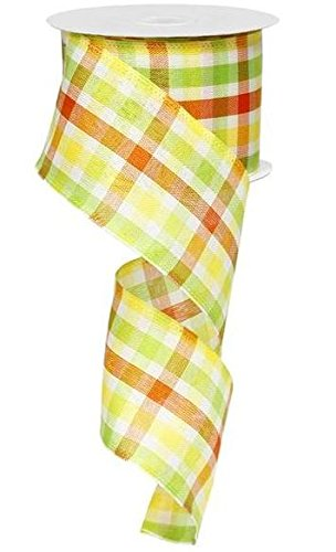 Spring Woven Plaid Orange Lime Green Yellow Wired Ribbon 2.5 Inches X 10 Yards : RG1997XJ