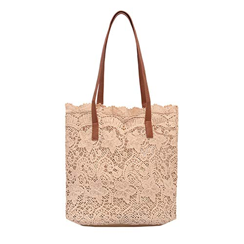 Women Shoulder Bag Lady Literary Lace Hollow Versatile Handbag Shoulder Bag