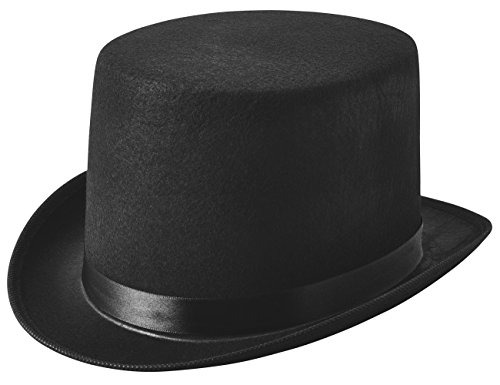 NJ Novelty - Black Felt Top Hat, Costume Dress Up Party Hat -