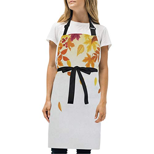 HJudge Womens Aprons Falling Autumn Leaves Kitchen Bib Aprons with Pockets Adjustable Buckle on Neck