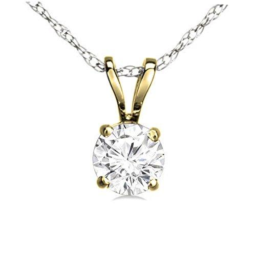 Dazzlingrock Collection 0.25 Carat (ctw) 14K Round White Diamond Ladies Solitaire Pendant 1/4 CT, Yellow Gold