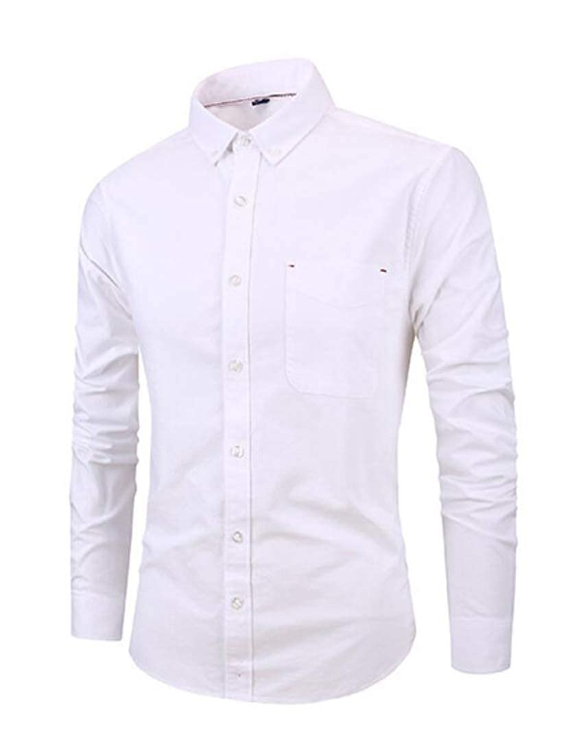 YYG Mens Long Sleeve Business Regular Fit Plain Casual Button Up Dress Shirt