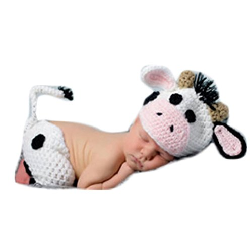 Cow Newborn Costumes (Infant Newborn Baby Photo Props Girl Boy Clothes Crochet Knit Animal Cows Hat Shorts Photography Props Outfits Costume)