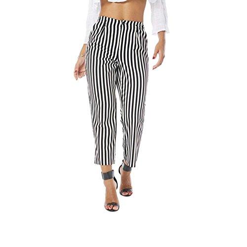 Casual Pantalon Streetwear Haute Rayures Sarouel Long Ete Swag De Loisirs Aéré Dame Battercake Élégant Fashion Taille Tendance Femme Noir 5B6Yqz
