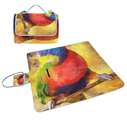- DKGFNK Family Picnic Blanket Handy Tote Parrot Oil Painting Bird Painting Speak Smart Spirituality Single Side Printing Foldable Sandproof Waterproof Camping Mat for Beach Grass Travel Outings