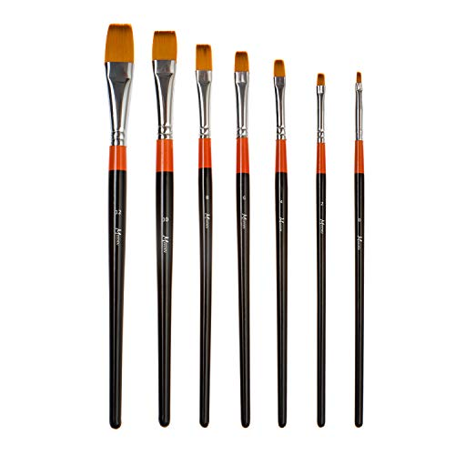 Golden Edge Acrylic Brushes - MEEDEN Flat Paint Brushes Set Short Handle Golden Nylon for Oil Acrylics Watercolor and Gouache Color Painting, 7-Piece