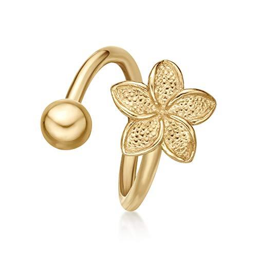 Lavari - 10K Yellow Gold Spiral Twist Lotus Flower Belly Button Ring 16 Gauge 12MM