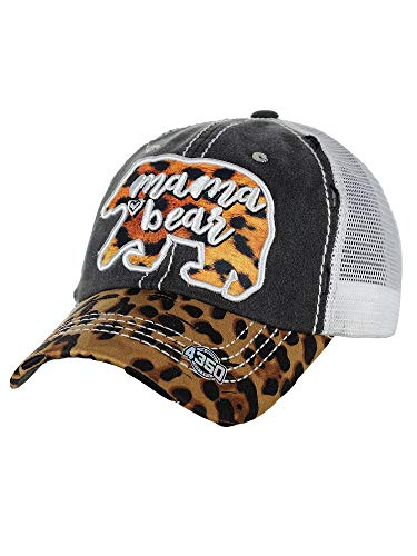 NYFASHION101 Women's Distressed Unconstructed Embroidered Baseball Cap Dad Hat, Mama Bear, Mesh Black - Hat Bear Black