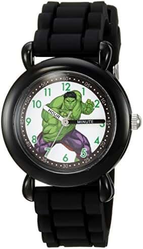 Marvel Boy's 'Hulk' Quartz Plastic and Silicone Casual Watch, Color:Black (Model: WMA000029)