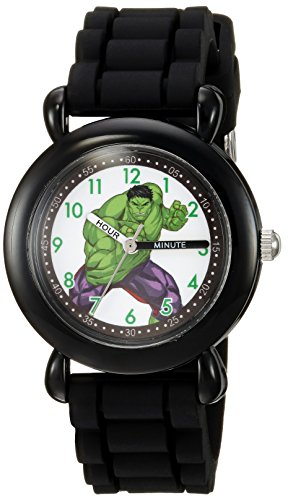 Marvel Boy's 'Hulk' Quartz Plastic and Silicone Casual Watch, Color:Black (Model: WMA000029)