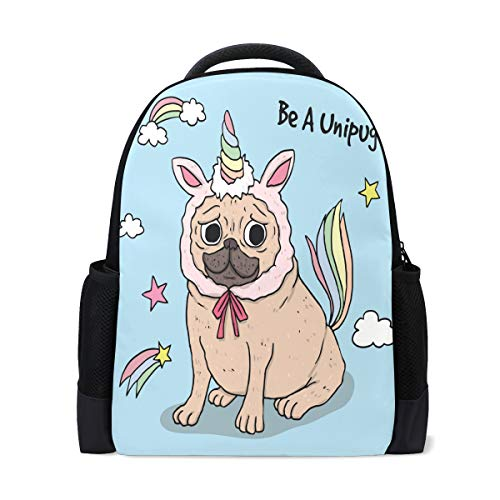 Conelia Funny Pug with Unicorn Costume Polyester Backpack School Travel Bag Pug Gifts Pug School Bag Pug -