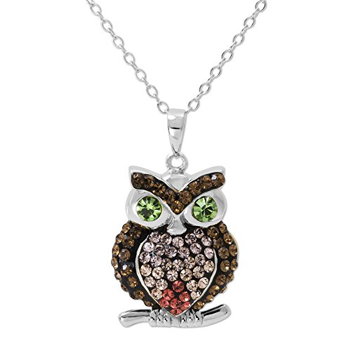 Crystalogy Women's Jewelry, Sterling Silver Multicolored Crystal Owl Pendant Necklace, 18