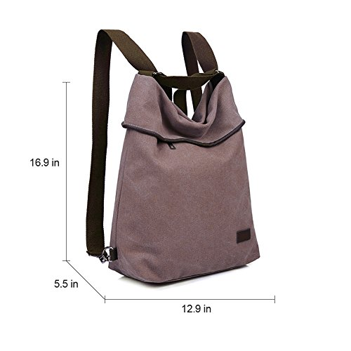 DLMBB Bag Canvas Travel Backpack Purse Multifunction Women Casual Shoulder Khaki Crossbody Daypack xwrAIwq7t