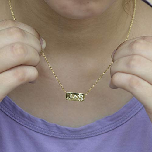 - Solid 14K Yellow Gold A TO Z Alphabet Initial Letters Personalized Bar Pendant Necklaces SI Clarity G Color Diamonds Minimalist Jewelry