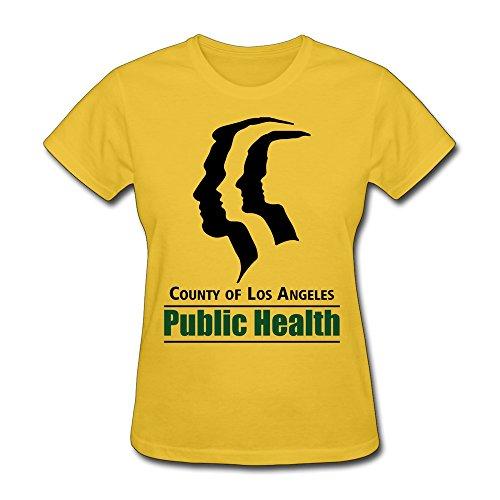 PNHK Women's Los Angeles County Department Of Public Health Logo T Shirt Large Yellow
